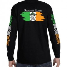 Men's Pirate Flag Long Sleeve Shirt Black